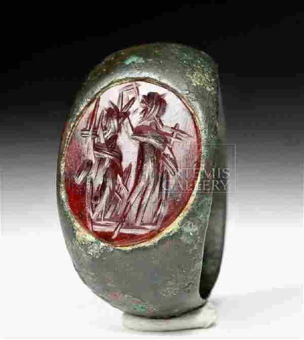 Fine Roman Bronze Ring w/ Carnelian Intaglio