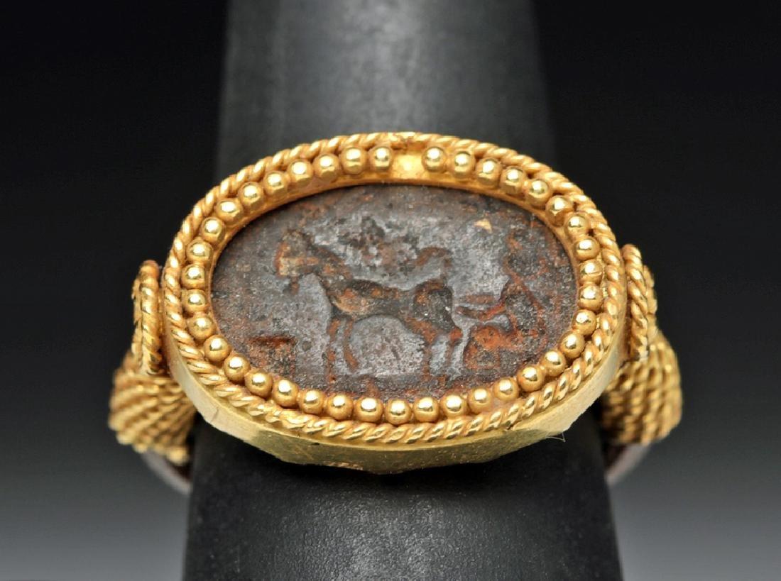 Roman 22K Gold & Iron Ring w/ Horse Image