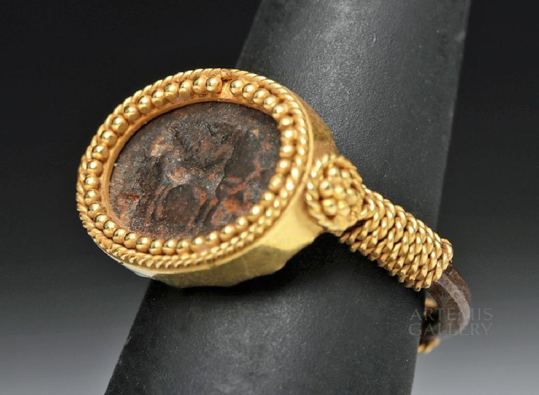 Roman 22K Gold & Iron Ring w/ Horse Image - 2
