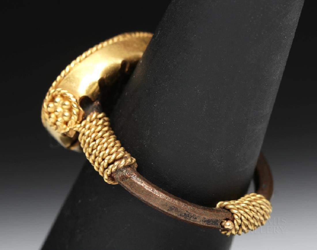 Roman 22K Gold & Iron Ring w/ Horse Image - 5