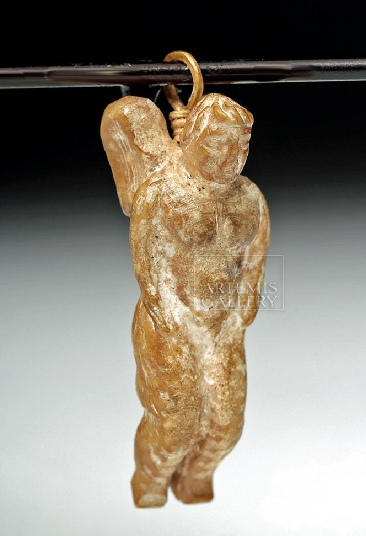 Rare Roman Bone Cherub Pendant w/ 18K Gold Bale