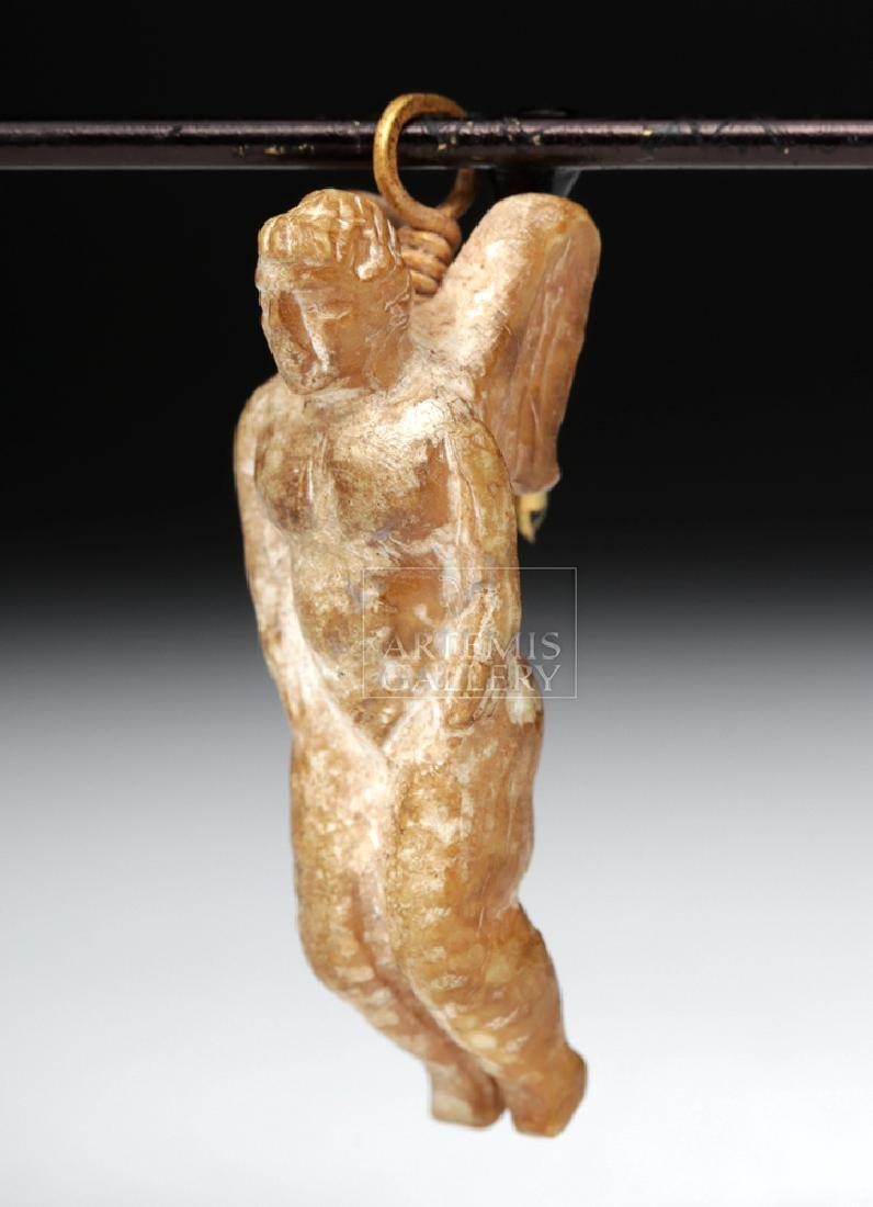 Rare Roman Bone Cherub Pendant w/ 18K Gold Bale - 3