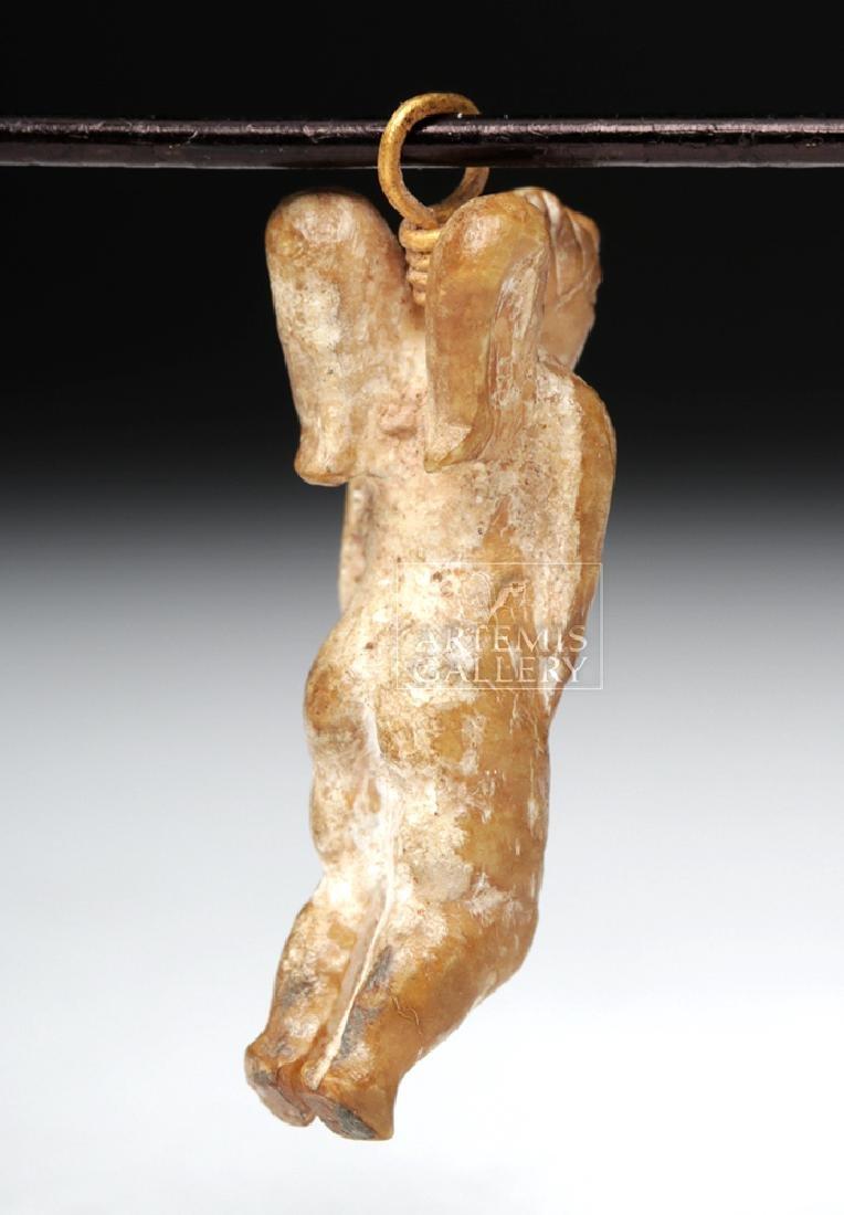 Rare Roman Bone Cherub Pendant w/ 18K Gold Bale - 5