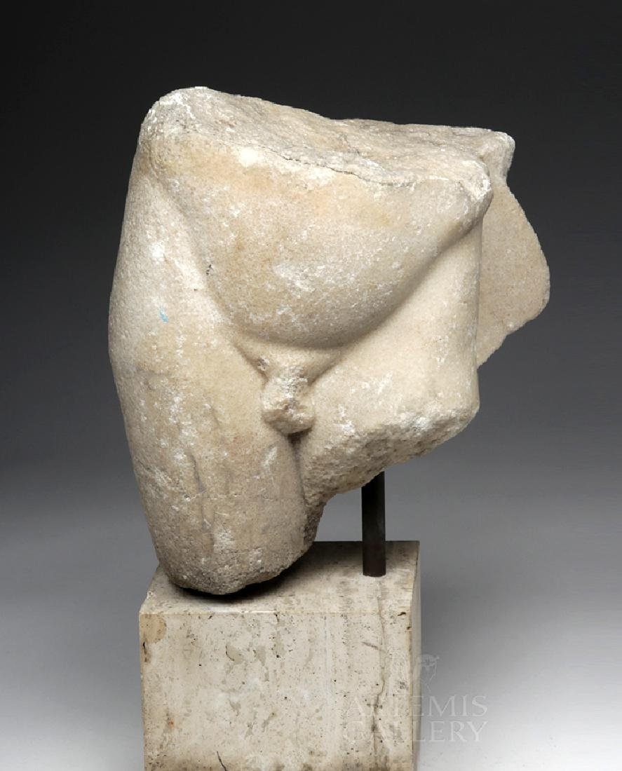 Fine Roman Marble Section of a Nude Youth