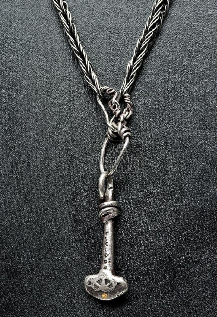 Viking Silver Necklace w/ Gold & Silver Thor's Hammer