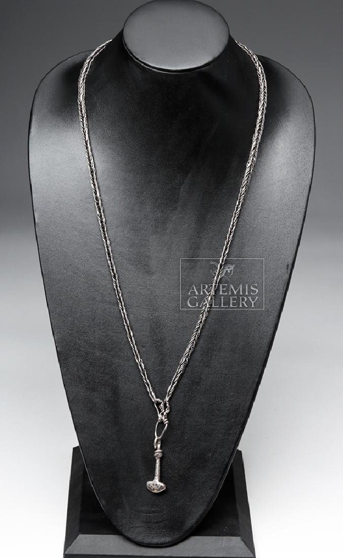 Viking Silver Necklace w/ Gold & Silver Thor's Hammer - 2