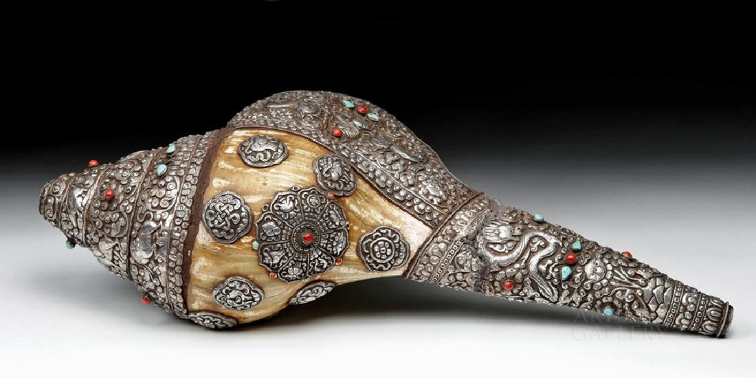 Huge 19th C. Tibet Silver, Coral, Turquoise Conch Shell