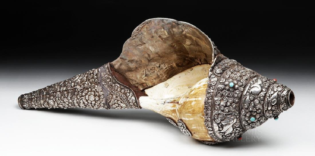 Huge 19th C. Tibet Silver, Coral, Turquoise Conch Shell - 3