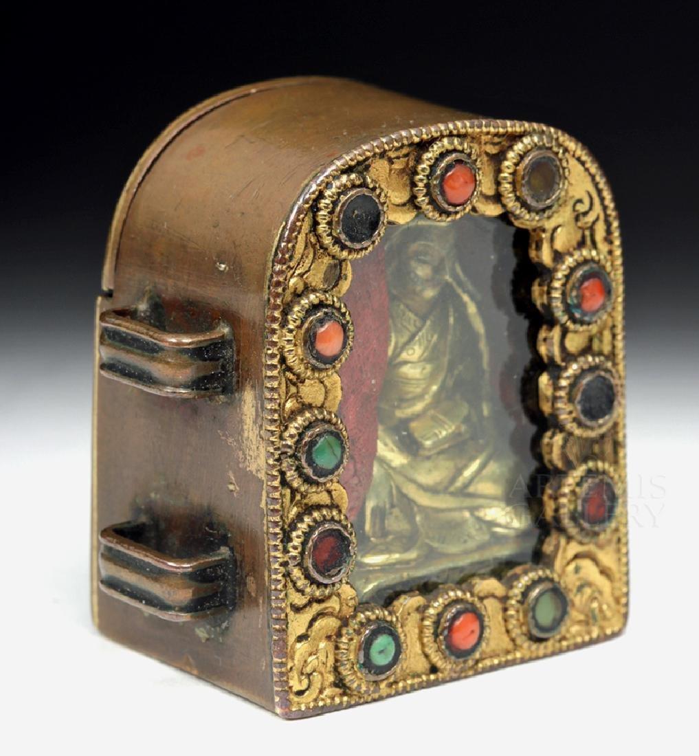 19th C. Tibetan Gilded Bronze & Coral Ghau Prayer Box