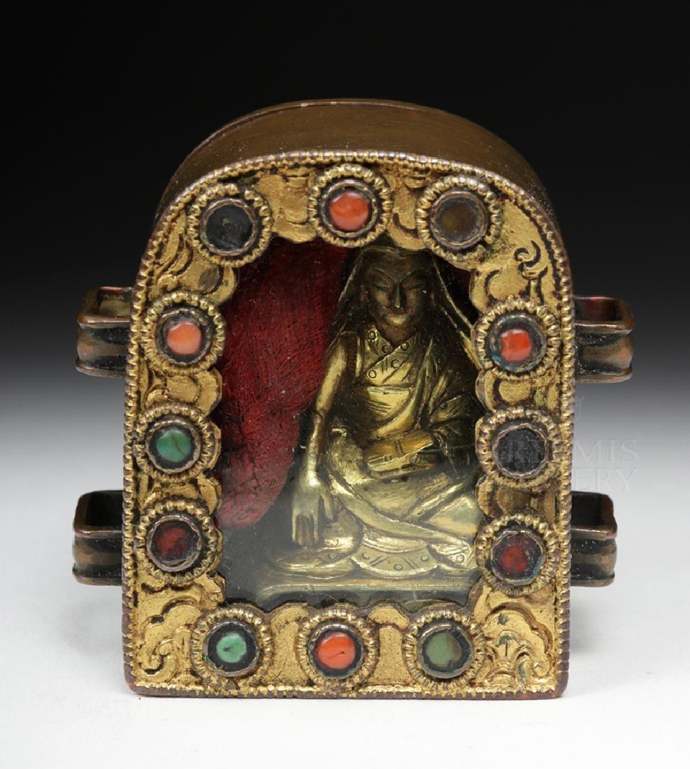 19th C. Tibetan Gilded Bronze & Coral Ghau Prayer Box - 2