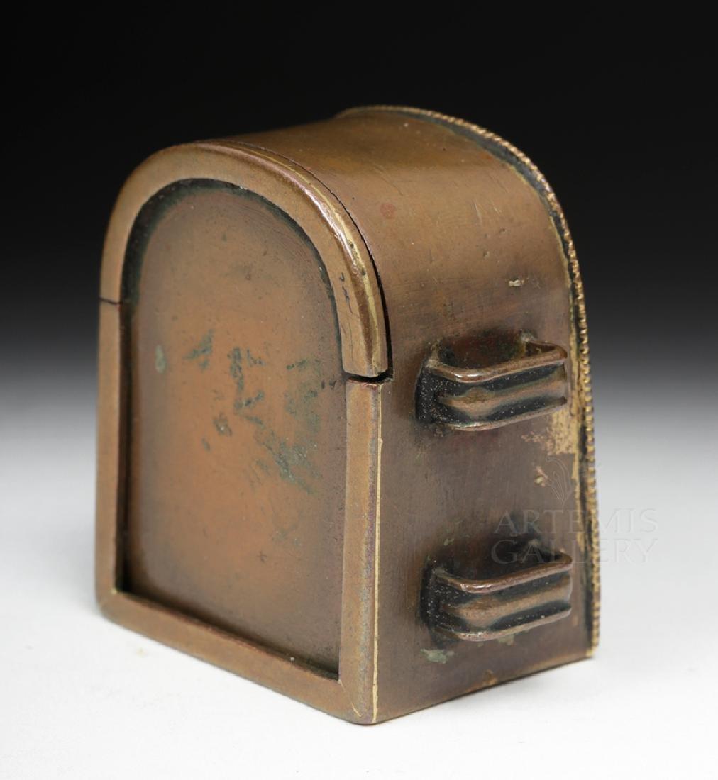 19th C. Tibetan Gilded Bronze & Coral Ghau Prayer Box - 4
