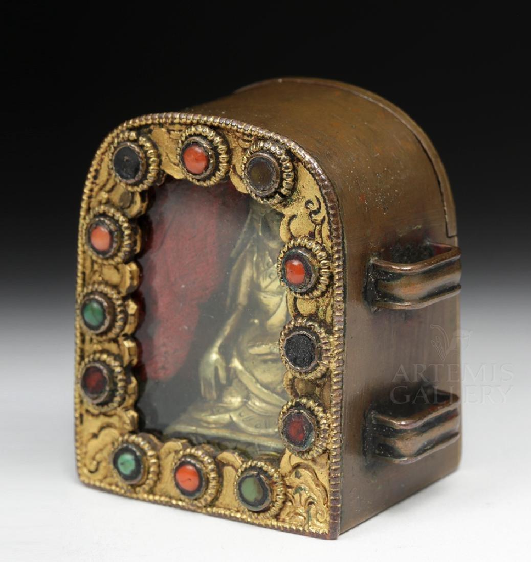 19th C. Tibetan Gilded Bronze & Coral Ghau Prayer Box - 5