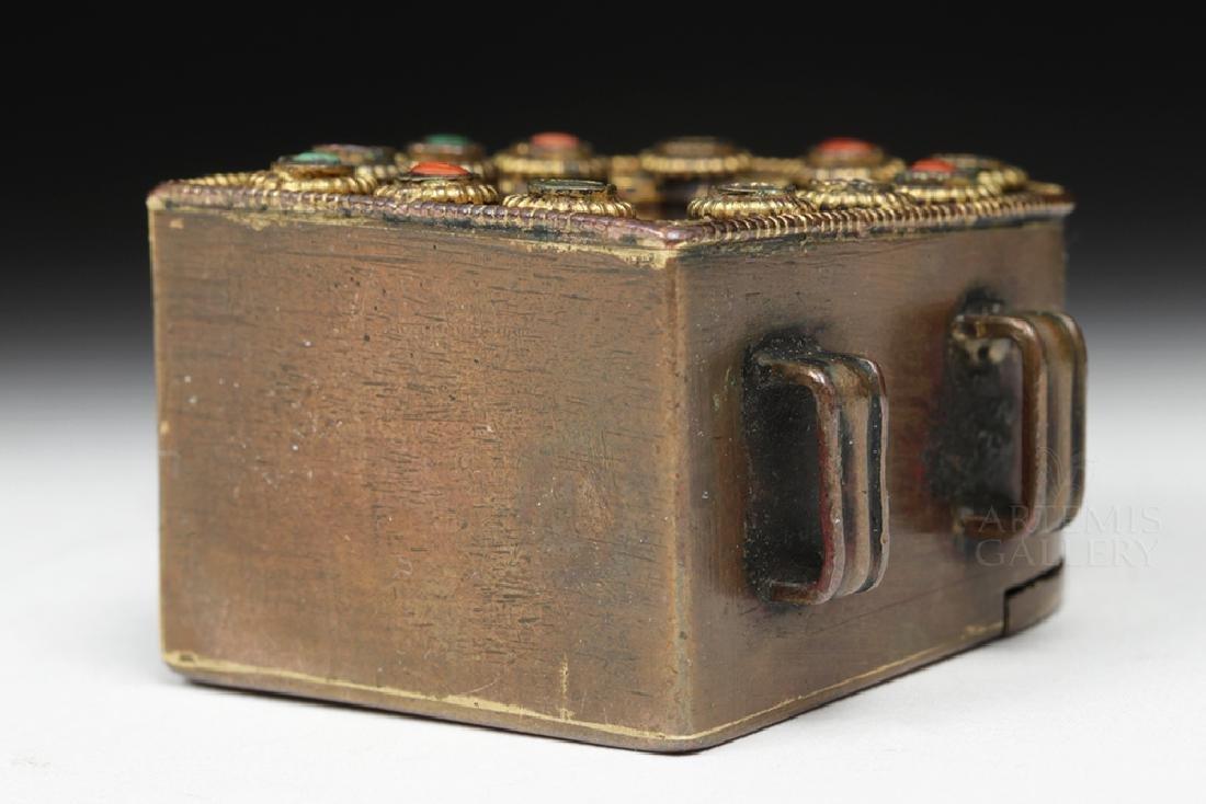 19th C. Tibetan Gilded Bronze & Coral Ghau Prayer Box - 6