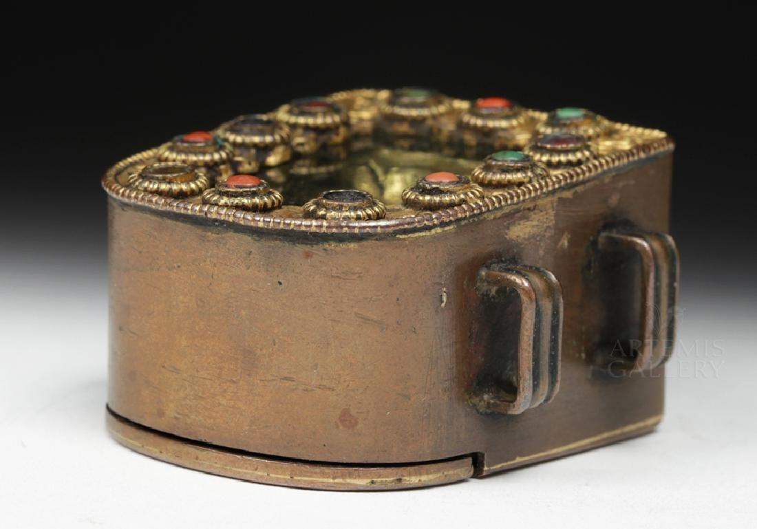 19th C. Tibetan Gilded Bronze & Coral Ghau Prayer Box - 7