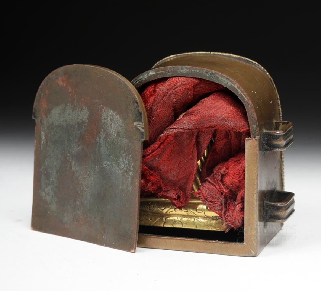 19th C. Tibetan Gilded Bronze & Coral Ghau Prayer Box - 8