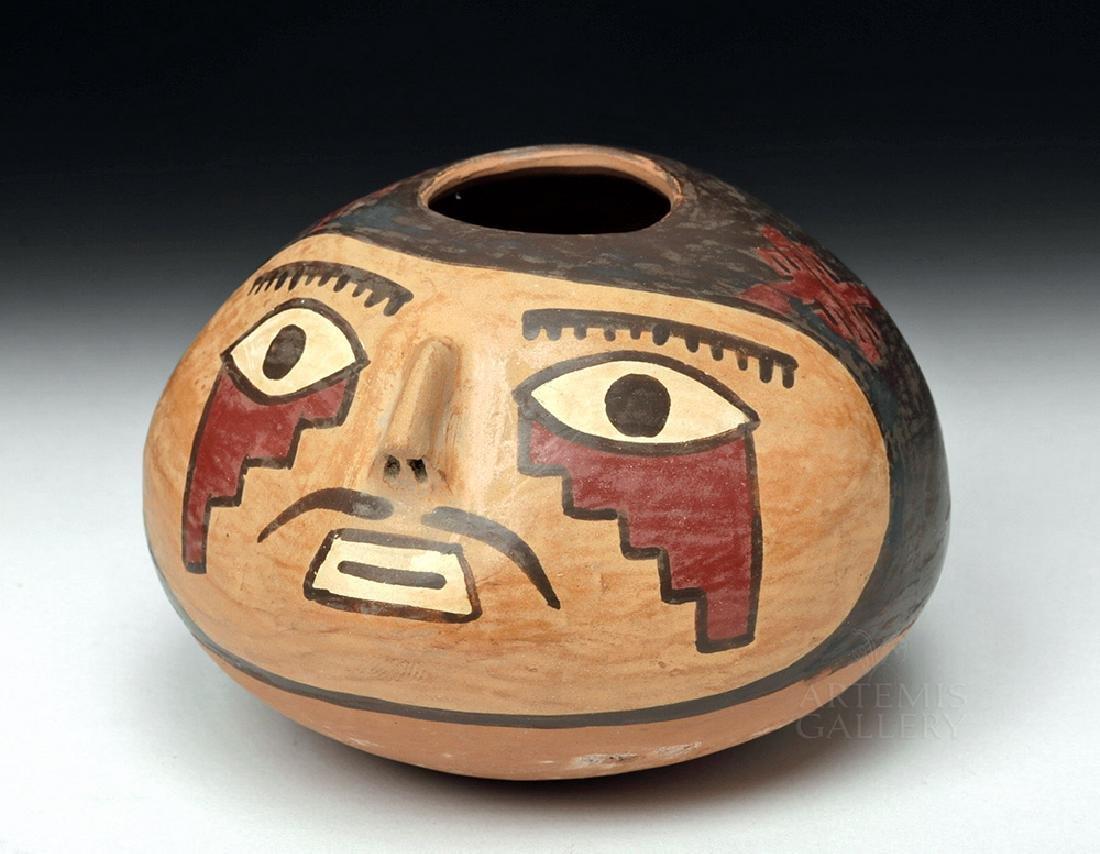 Choice Nazca Pottery Vessel - Anthropomorphic Head Form