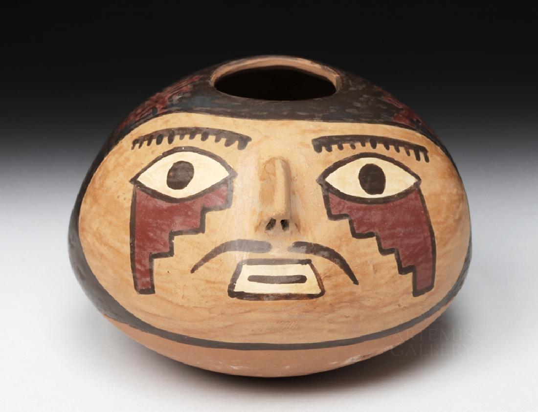Choice Nazca Pottery Vessel - Anthropomorphic Head Form - 2
