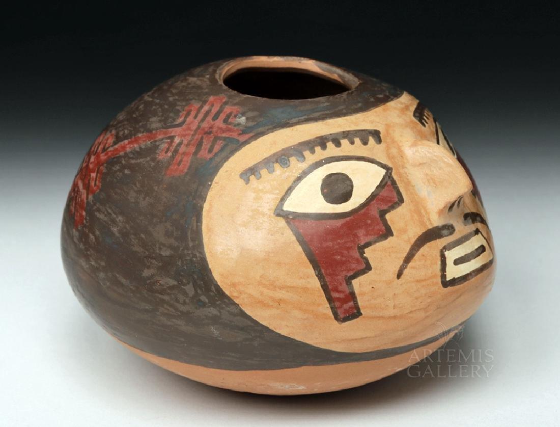 Choice Nazca Pottery Vessel - Anthropomorphic Head Form - 3