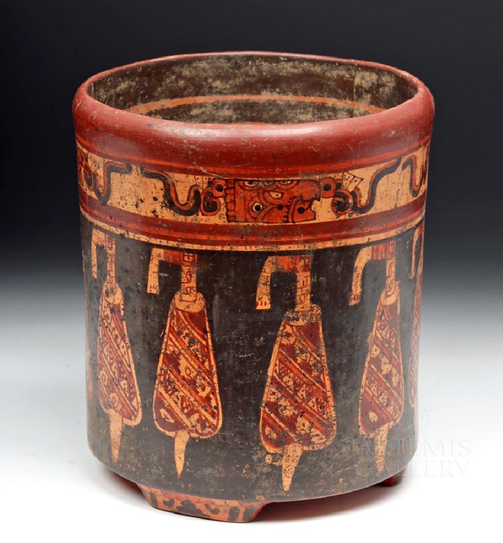 Large Mayan Polychrome Tripod Cylinder