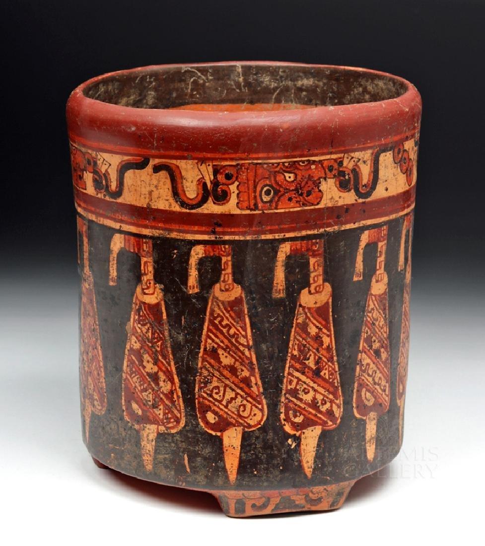 Large Mayan Polychrome Tripod Cylinder - 2