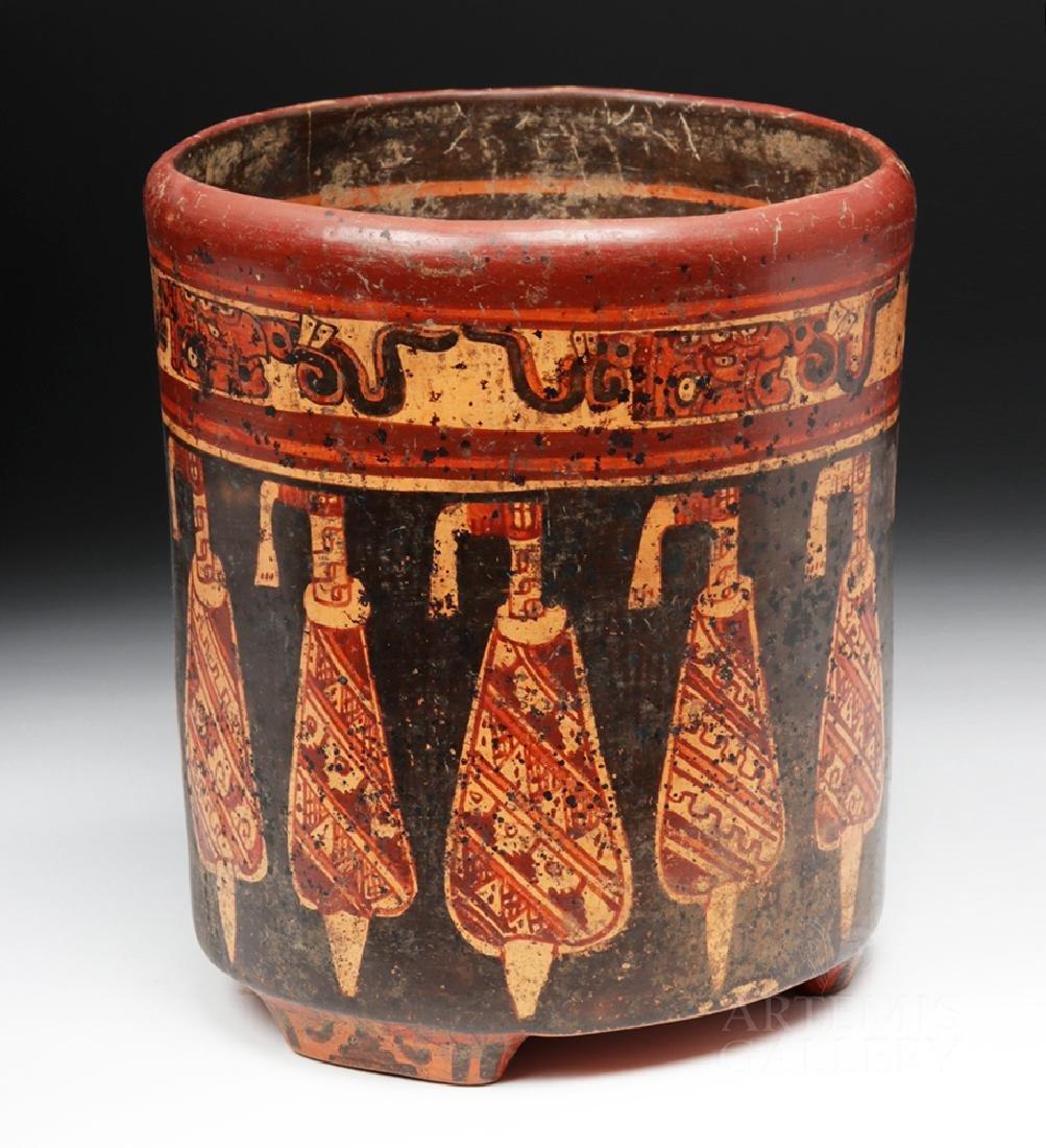 Large Mayan Polychrome Tripod Cylinder - 4