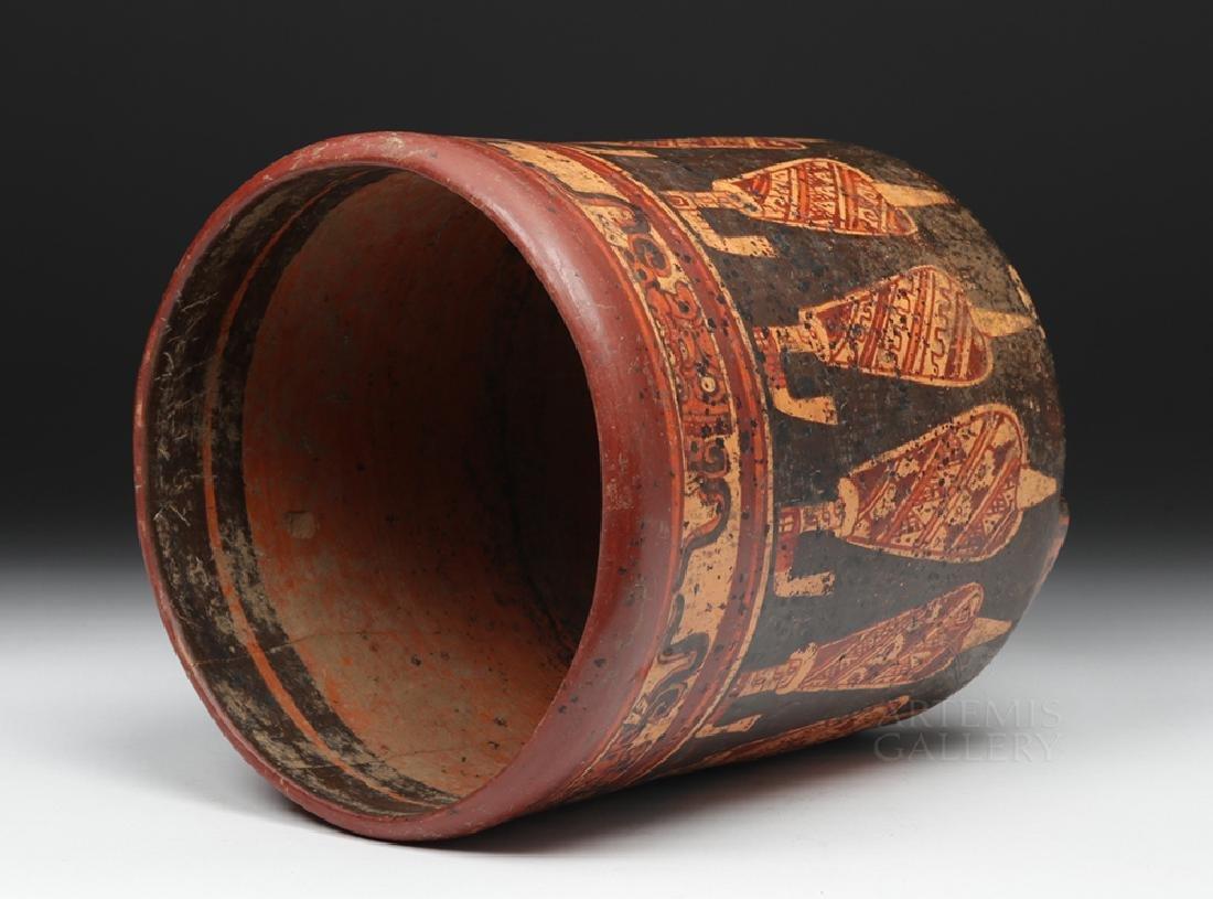 Large Mayan Polychrome Tripod Cylinder - 5