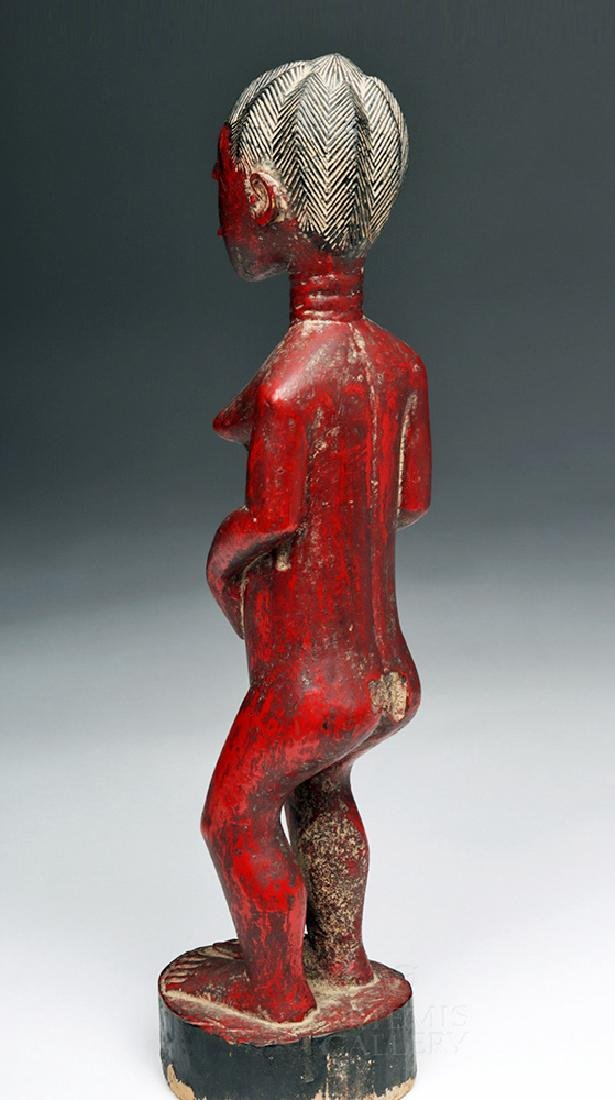 Early 20th C. Baule Wooden Female Ancestor Figure - 4