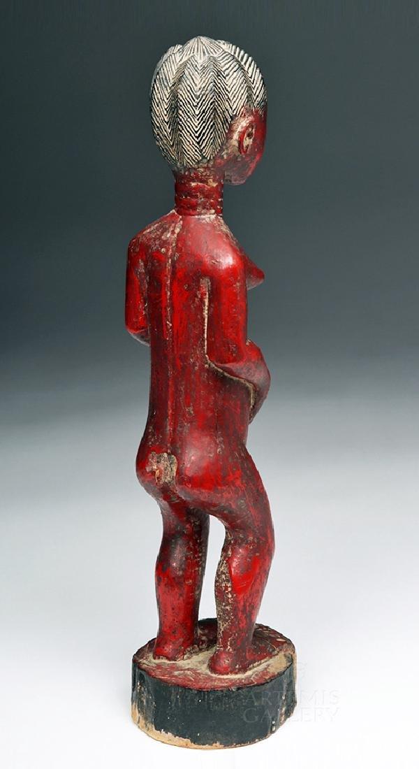 Early 20th C. Baule Wooden Female Ancestor Figure - 5