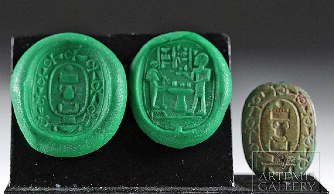 Large Egyptian Green Jasper Scaraboid - Thutmose III
