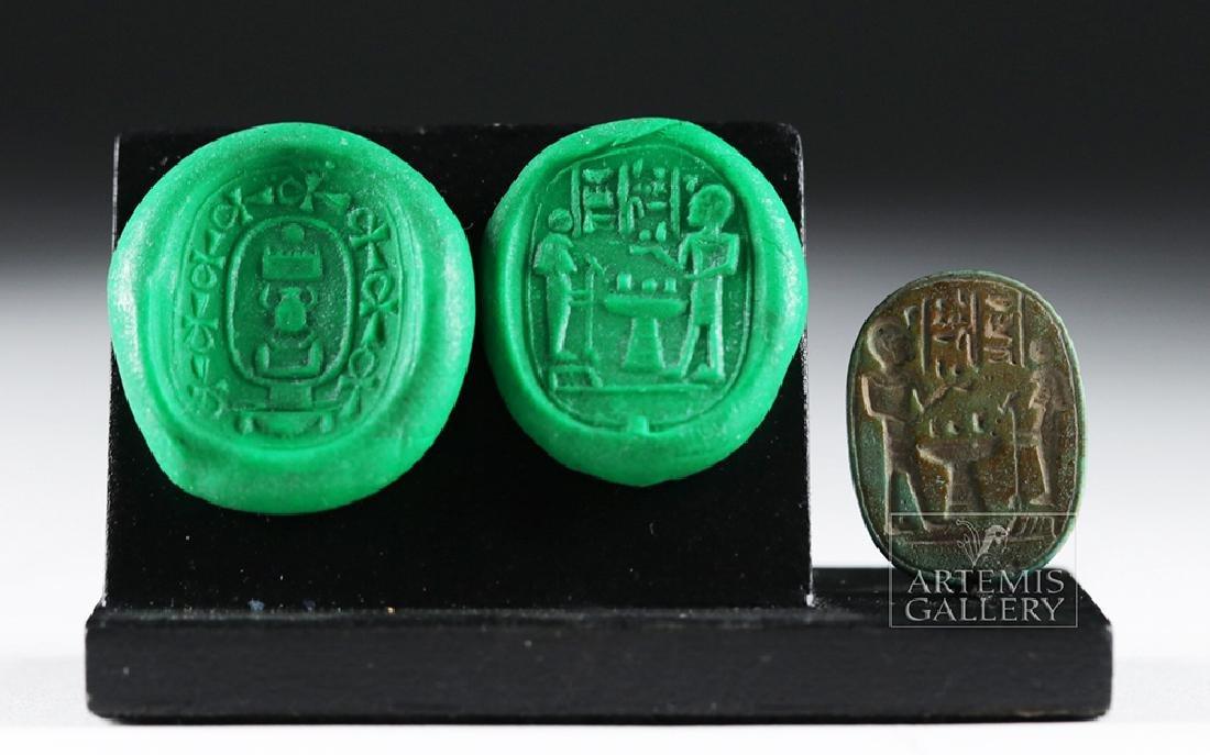 Large Egyptian Green Jasper Scaraboid - Thutmose III - 3