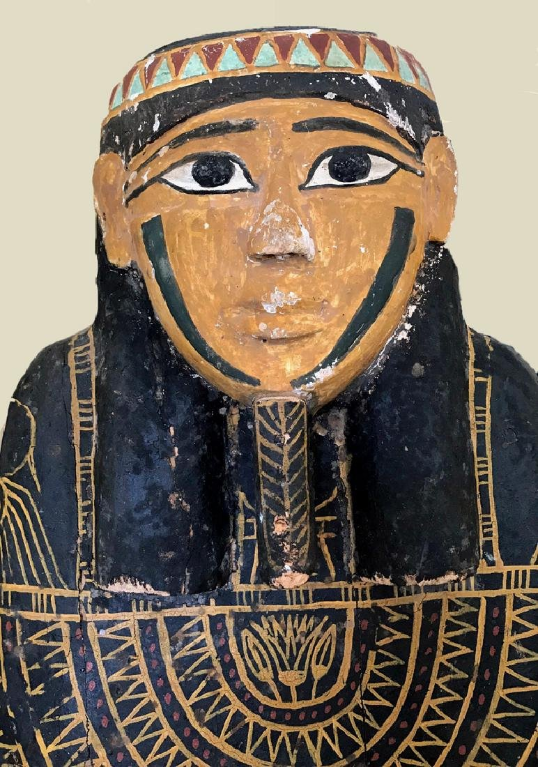 Egyptian Late / Ptolemaic Painted Wood Sarcophagus - 8