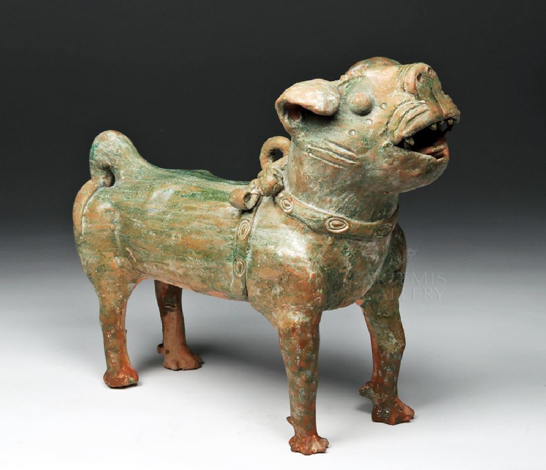 Superb Chinese Han Dynasty Green Glazed Terracotta Dog