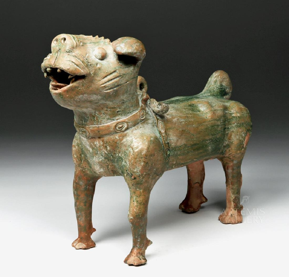 Superb Chinese Han Dynasty Green Glazed Terracotta Dog - 2