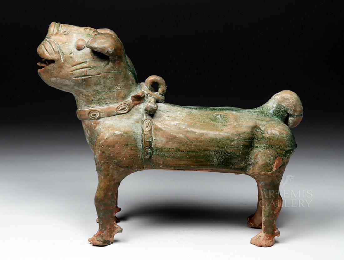 Superb Chinese Han Dynasty Green Glazed Terracotta Dog - 3