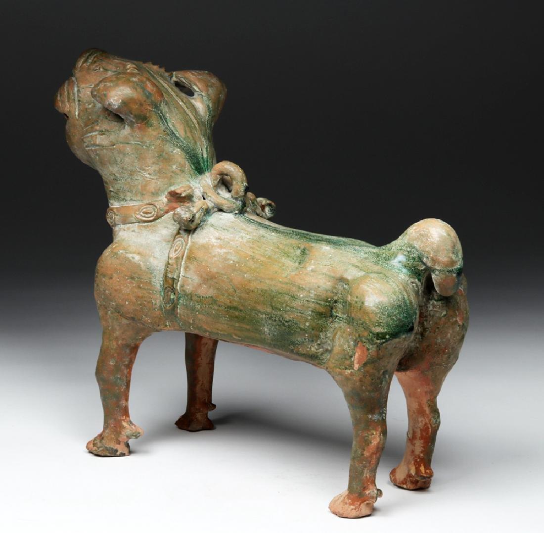Superb Chinese Han Dynasty Green Glazed Terracotta Dog - 4