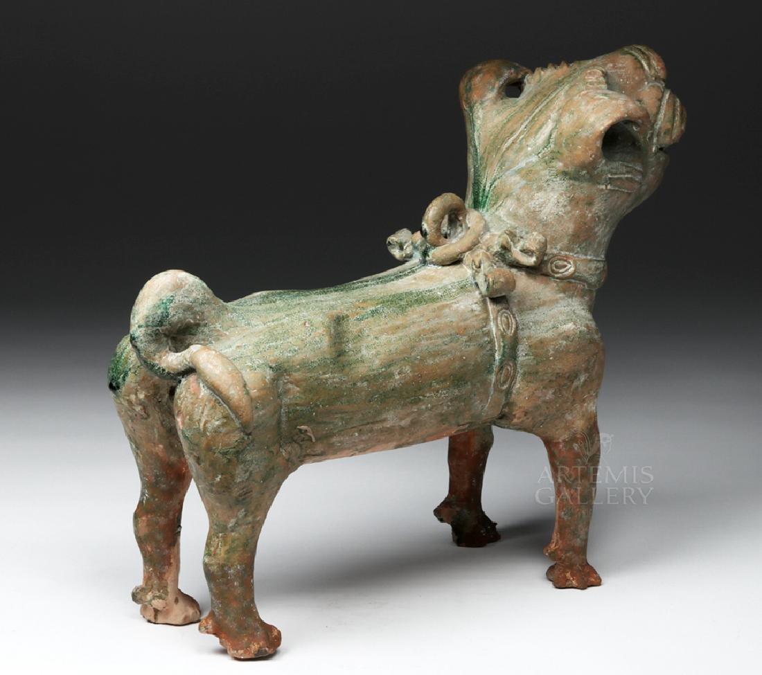 Superb Chinese Han Dynasty Green Glazed Terracotta Dog - 5
