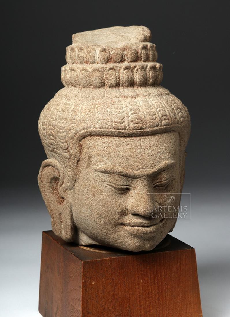 12th C. Cambodian Khmer Stone Head of Buddha