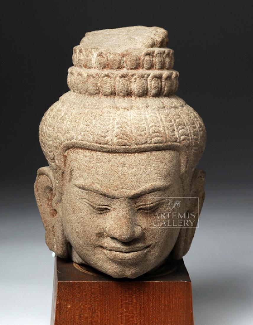12th C. Cambodian Khmer Stone Head of Buddha - 2