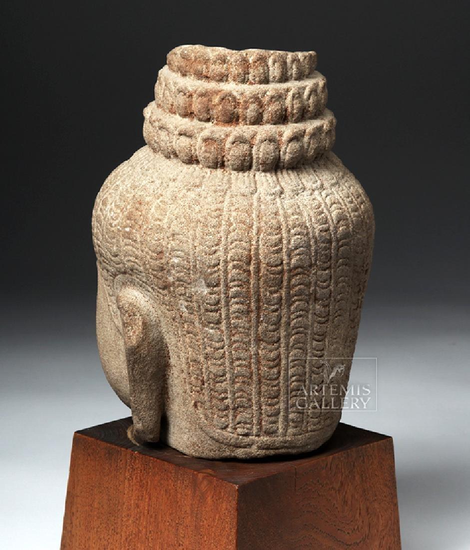 12th C. Cambodian Khmer Stone Head of Buddha - 3