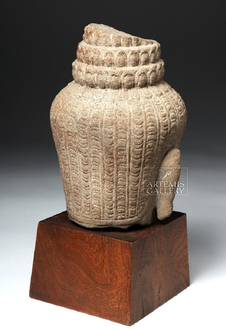 12th C. Cambodian Khmer Stone Head of Buddha - 4