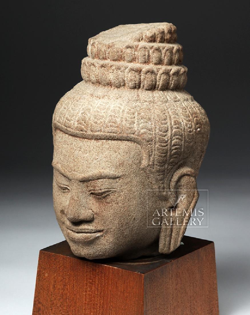 12th C. Cambodian Khmer Stone Head of Buddha - 5