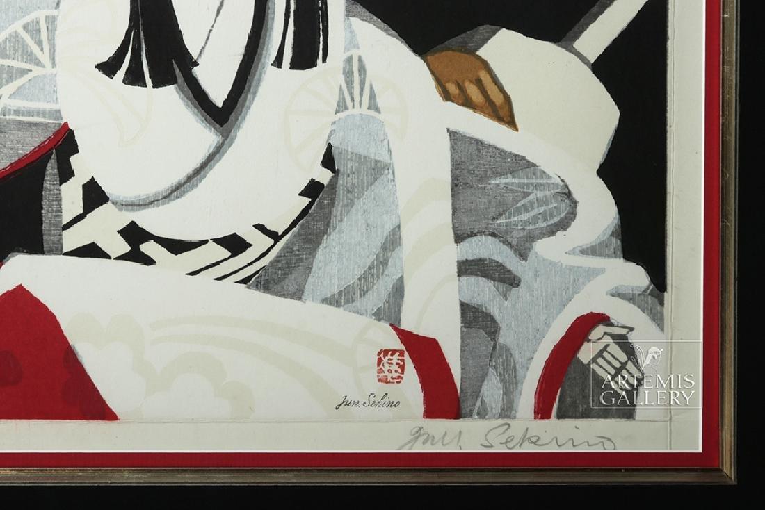 Sekino Jun'ichiro Woodblock, Bungaro on Stage, 1960s - 3