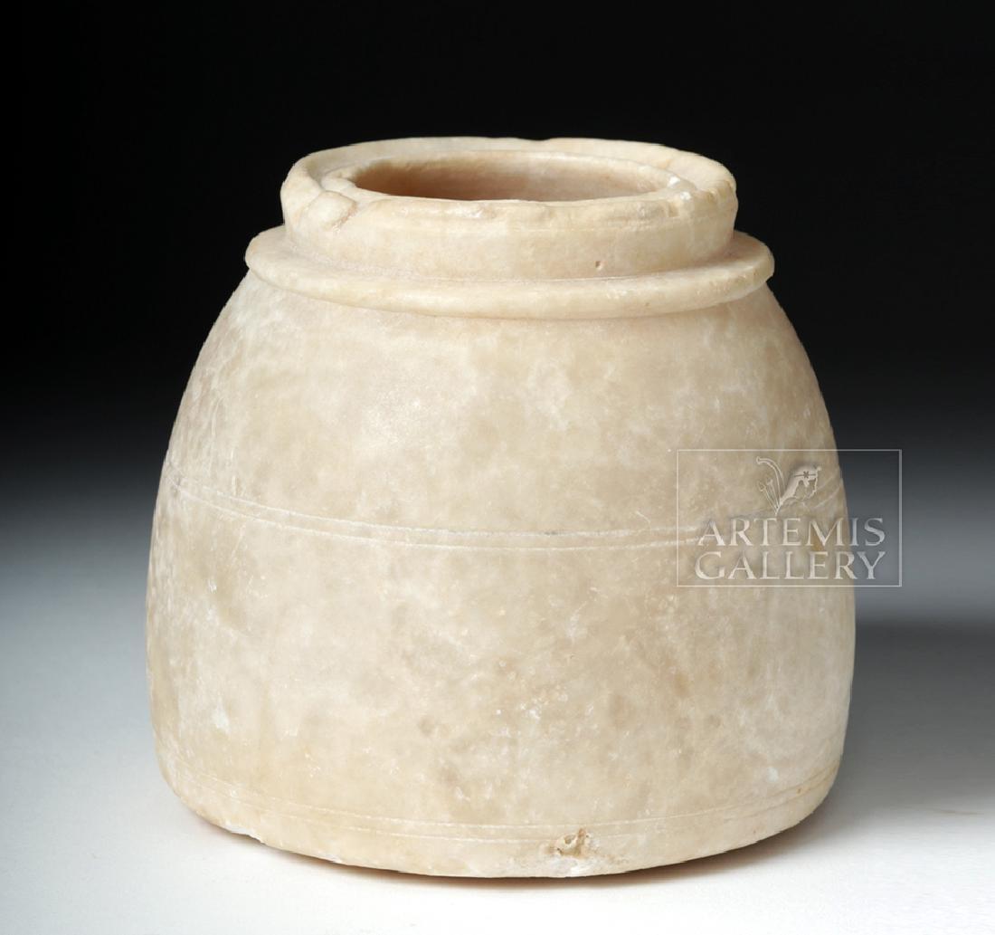 Egyptian Alabaster Vessel with Decorative Rim - 2