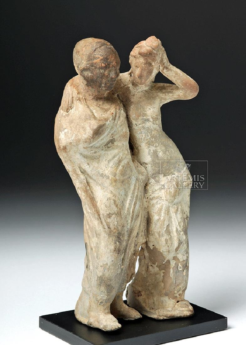 Greek Tanagra Pottery Standing Couple