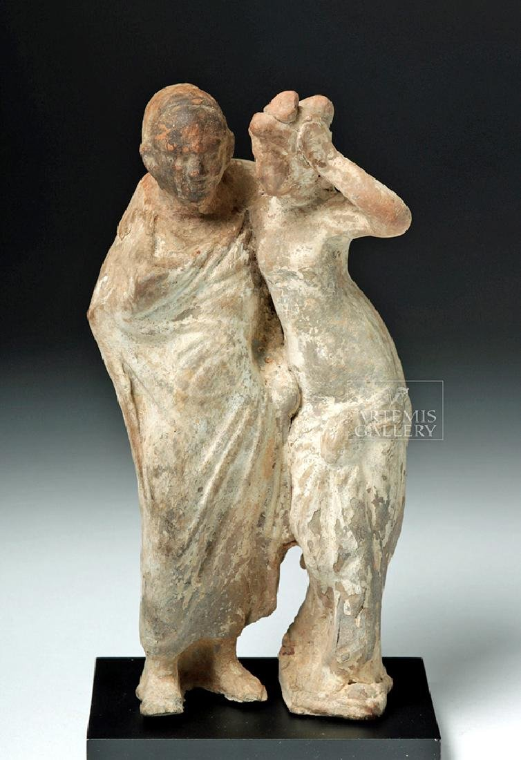 Greek Tanagra Pottery Standing Couple - 2