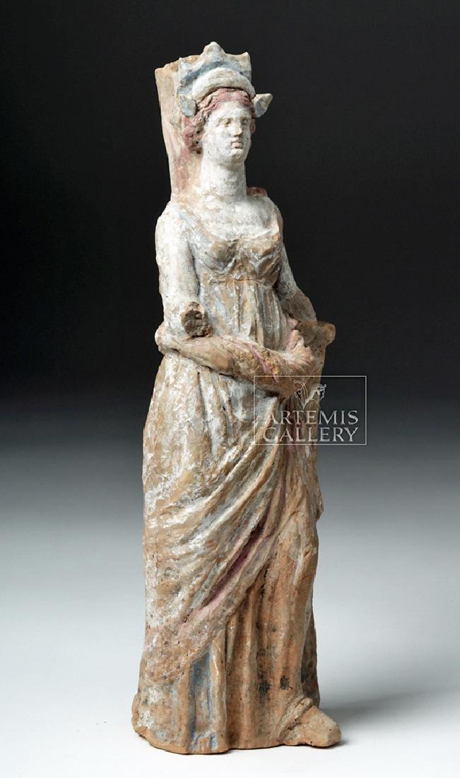 Greek Canosan Pottery Polychrome Standing Goddess