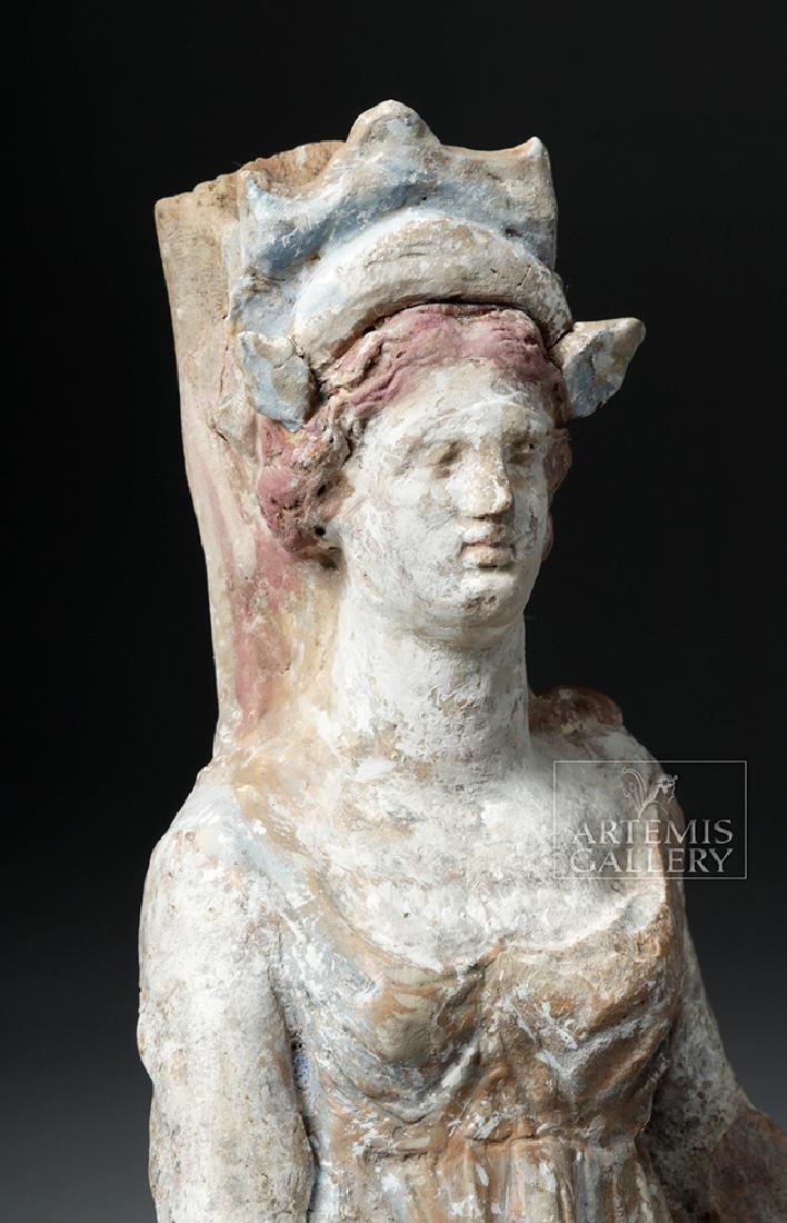 Greek Canosan Pottery Polychrome Standing Goddess - 2