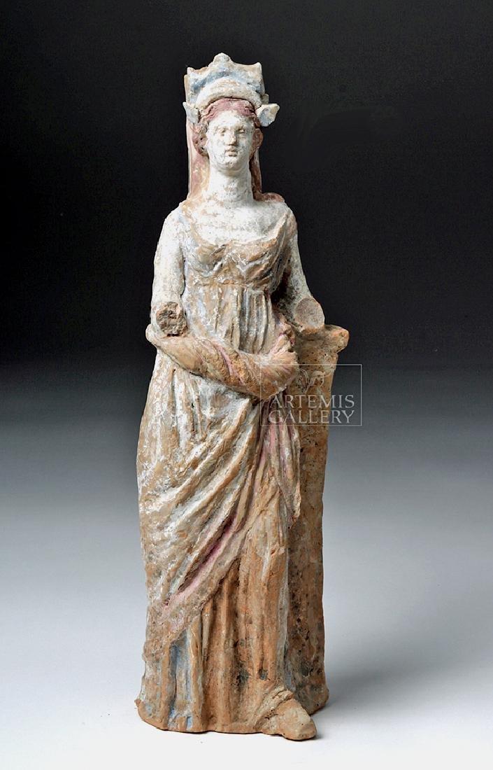 Greek Canosan Pottery Polychrome Standing Goddess - 3