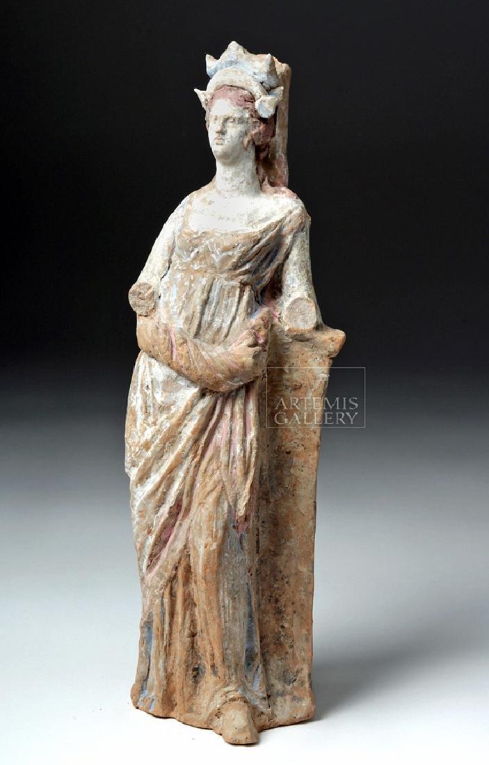 Greek Canosan Pottery Polychrome Standing Goddess - 5