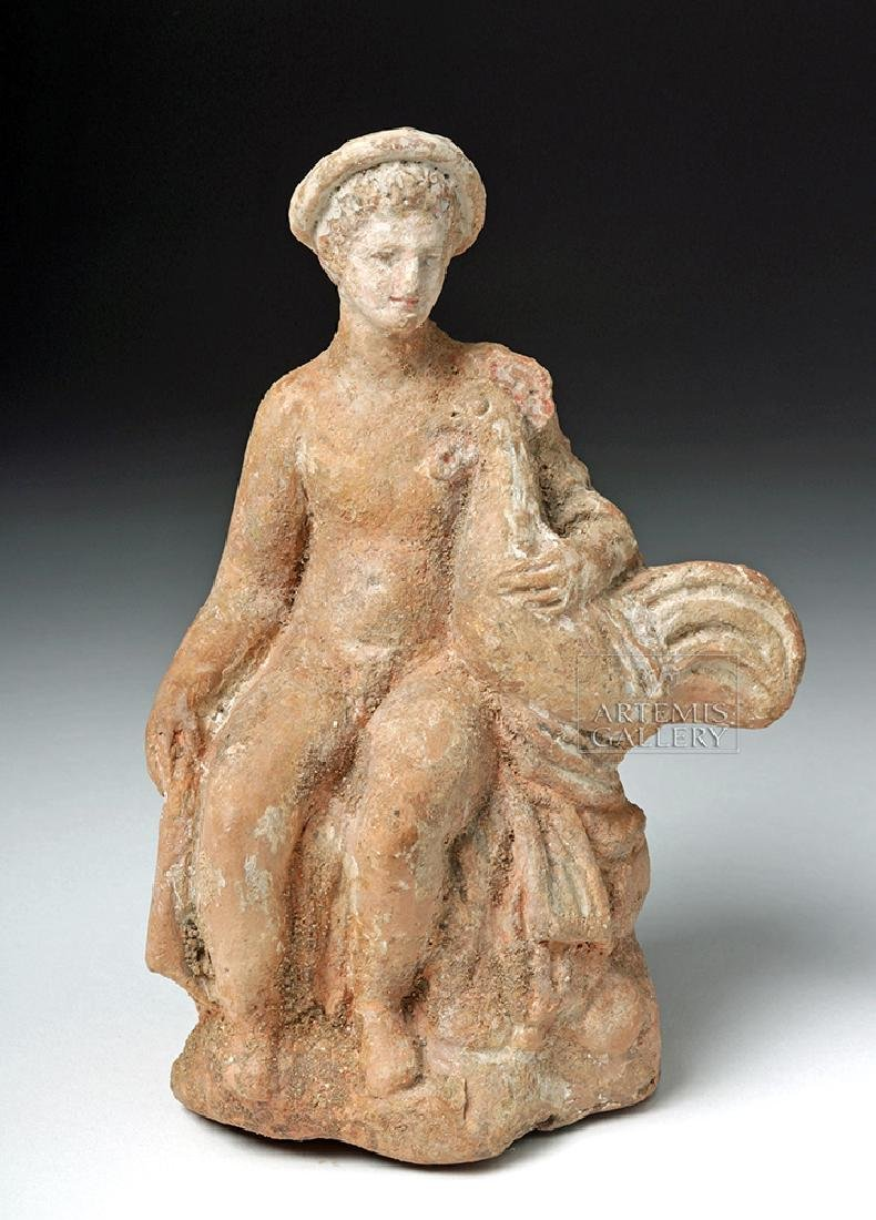 Greek Hellenistic Pottery Seated Male w/ Rooster